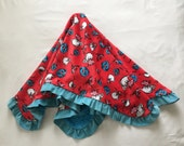 """Dr. Suess """"Cat in the Hat"""" Baby Blanket Minky Corduroy Ruffle Medium Size Turquoise Red Pink"""