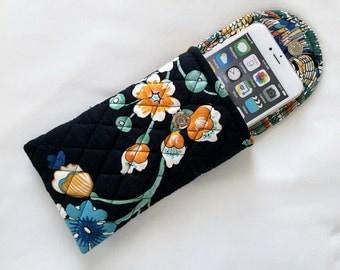 Iphone 6 Plus Glasses Case Combo Quilted Designer Fabric Floral Greens Orange Cream Black