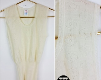 Delicate Vintage 70s Girly White Knit Sweater Top / Vest! AS IS