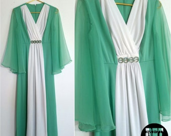 Beautiful Pastel Green and White Flowy Goddess Gypsy Maxi Dress with Sheer Bell Sleeves - So Gorgeous!
