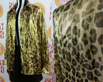 Super Cool 90s Shiny Leopard Print Button Down Club Kid Grunge Blouse Shirt Top!