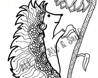 Adult Coloring Page - Hedgehog - Instant Download - Zentangle - Doodle Illustration - DailyDoodler - Unique Hedgehog Illustration
