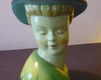 Vintage Ceramic Lady Head Vase - 1930s decor - 1930s decor prop - Medium greens and blues - floral decor