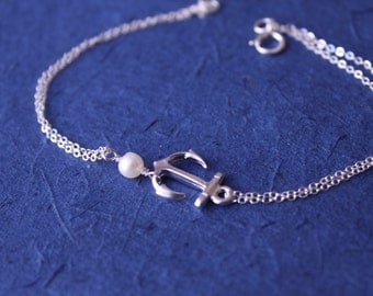 Sterling Silver Anchor Bracelet Bridesmaid Jewelry Best Friends gift Girl00Friend gift  Bridal Party