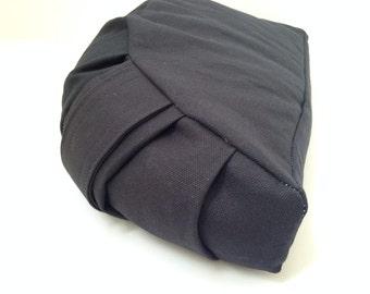 Half Moon Meditation cushion with buckwheat hulls/ black