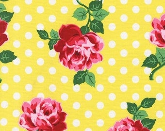 Michael Miller Retro Floral Dot Roses Fabric, LUCY Yellow- yards