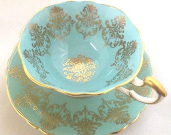 Vintage Paragon England aqua blue bone china tea cup and saucer