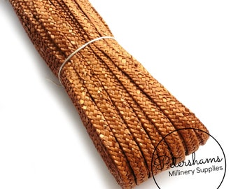 Full Hank (80m/87yards) Traditional Millinery Straw Braid for Hat Making & Trimming (6-7mm width) - Rusty Honey
