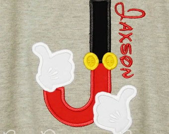 Mickey Mouse Initial Shirt, Mouse Ears Shirt, Personalized Mickey Shirt, Mickey Hands and Pants Initial, Custom Mickey Initial Shirt