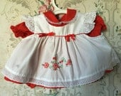 Red newborn dress with pinafore Valentine's Day 0-3m