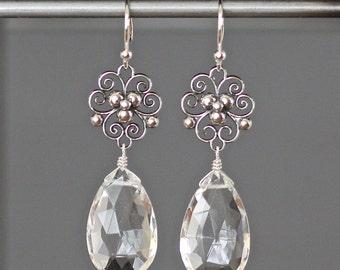 Crystal Chandelier Earrings - Quartz Crystal Earrings - Bali Silver Earrings - Statement Jewelry - Wedding Jewelry - Clear Crystal Earrings