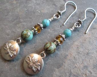 Lotus, Turquoise & Crystal Boho Earrings ~ Spiritual Jewelry
