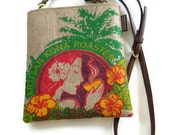 MTO. Burlap Mini-Messenger Bag, Cross Body Bag. Island Girl. Repurposed Kona Coffee Bag Handmade in Hawaii.