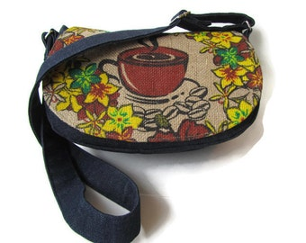MTO. Custom. Coffee Cup. Burlap and Denim Crossbody Bag. Repurposed Kauai Coffee Bag. Handmade in Hawaii by Manila Extract.