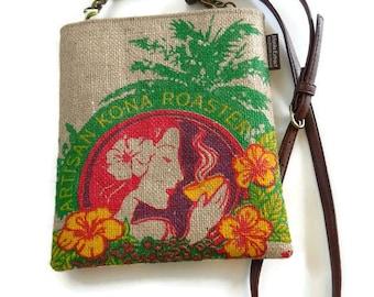 MTO. Custom. Island Girl Cross Body Bag. Mini-Messenger. Repurposed Burlap Honolulu Coffee Company Coffee Bag. Handmade in Hawaii.