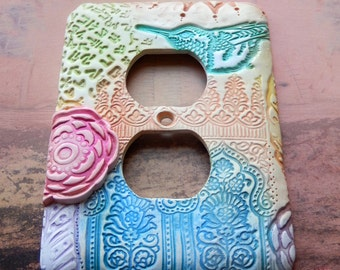 Hummingbird and the Rose, outlet cover, polymer clay, decorative wall plate, pastels,