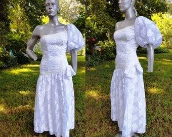 One Sleeve 80s Prom Dress,80s Wedding Dress, Vintage Dress, Sequin Dress, Flocked Dress, 80s Dress Junior Size 0