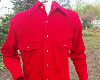 Mens 70s Western Shirt, Red Corduroy Shirt, Vintage Shirt, Cowboy Shirt, 70s Shirt, Red Shirt Size M