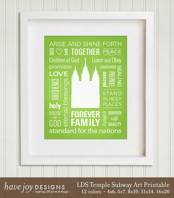 Printable LDS Temple Subway Art (Salt Lake City temple) in 5 sizes and 12 colors (Instant Download)