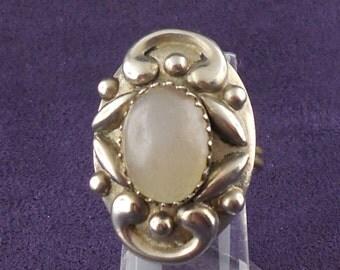 Vintage 900 Silver Ring Quartz Adjustable Hippie