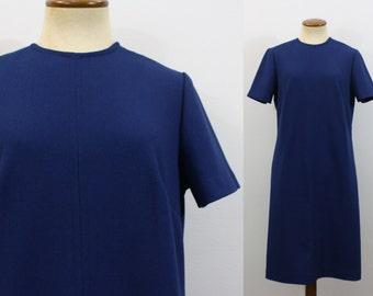 Mod Mini Dress 1960s Space Age A Line Shift Scooter Stewardess Vintage 60s Twiggy Blue Textured Short Sleeve Retro Go Go Sixties Medium M/L
