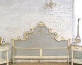 Painted Cottage Chic Shabby French King Headboard BD743