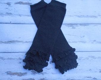 All black ruffled Leg Warmers baby toddler girls children ruffle leg warmers