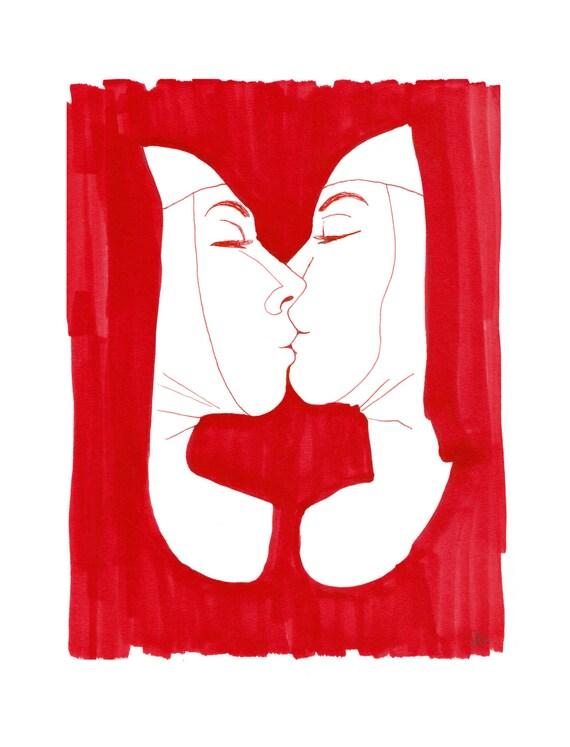 minimalist ink print: Sisters