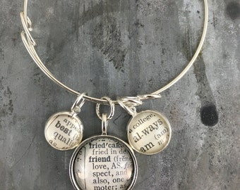 three word charm bangle bracelet- BEST FRIEND ALWAYS