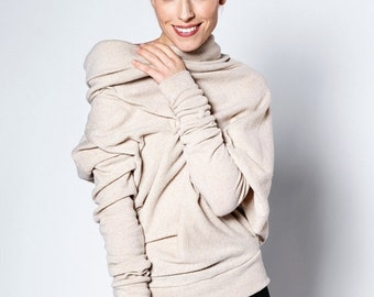 SALE - Unique sweater | Pastel sweater | Cozy sweater | Asymmetric sweater | LeMuse cosy wool sweater
