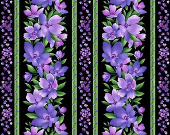 Maywood Studio Black/Purple Catalina Stripe Fabric by the yard H158402M-JV