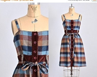 45% OFF SALE.... vintage 1970s plaid dress • midi dress • 70s sundress • plaid 70s wool dress