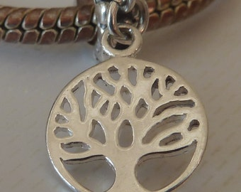 SALE - Sterling Silver European Dangle Charm - Fits all European Charm Bracelets - Tree of Life