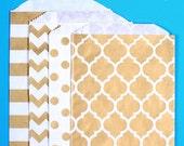 Gold Favor Bags -4 Design Pack- Wedding Favor Bags, Paper Bags, Sweet Bags, Candy Buffet Bags, Stripe, Polka Dot, Chevron, Casablanca (12)