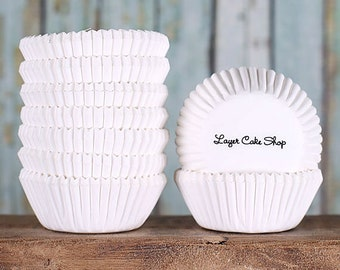 MINI White Cupcake Liners, White Cake Pop Cups, White Candy Cups, White Baking Cups, Truffle Cups, Muffin Cases, Cupcake Cases (100)