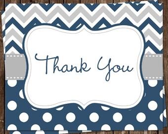 Baby Shower, Thank You Cards, Boys, Navy Blue, Chevron, Gray, Stripes, Polka Dots, Sprinkle, 24 Folding Notes, FREE Shipping, Printed, CSDNY