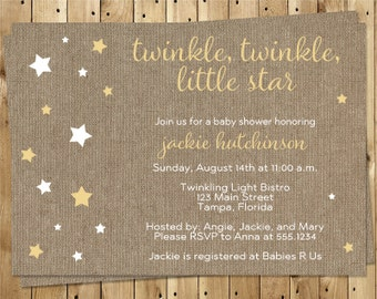 Twinkle Star. Baby Shower Invitations, Burlap, Gold Stars, Gender Neutral, Yellow, Country, Rustic, 10 Printed Invites, FREE Shipping, TWKGN