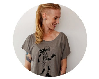 Dolman Blouse, Roller Derby Shirt, Screenprinted Ladies Clothing, Trendy Oversized Style, Hand Printed, Taupe, Grey, Roller Skating Skeleton