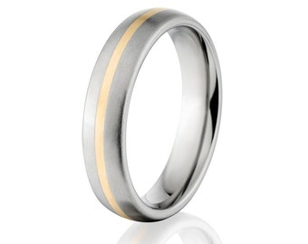 New 5mm Titanium Wedding Ring With 14k Yellow Gold Inlay, Free Sizing Jewelry 4-17:  5HR11GBR-14K INLAY
