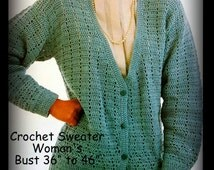 Womans Crochet Sweater Pattern - Cardigan - Sizes Petite, Small, Medium and Large - PDF 06071924 - Instant Download