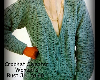 Womans Crochet Sweater Pattern - Cardigan - Sizes Petite, Small, Medium and Large - PDF 06071924 - A Best Seller