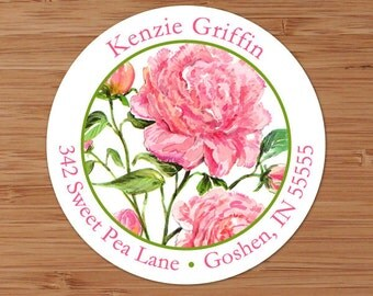 Pink Peonies - Custom Address Labels or Stickers