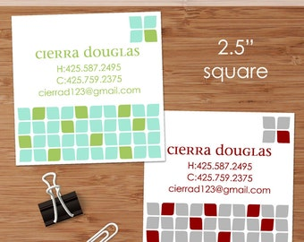 Cierra (Mod Cubes) - 50 Custom Square Business or Calling Cards