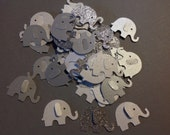 50 pc Elephant Confetti  Greys Silver Glitter  Off white shimmer