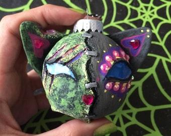 Split Personality Kitty Cat Christmas Ornament, Zombie & Sugar Skull, Dia De Los Muertos