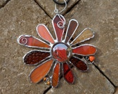 Stained Glass Flower - Handmade - Suncatcher - Orange - Amber - Gift - Window Decor