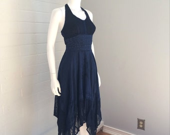 Blue Embroidered Halter Trapeze Lace and Crochet Dress