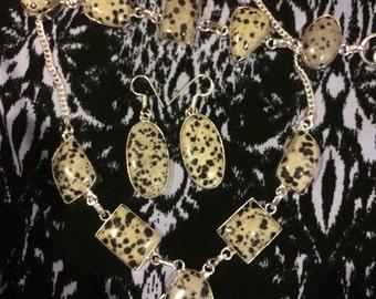 Dalmatian jasper necklace, bracelet and earrings set