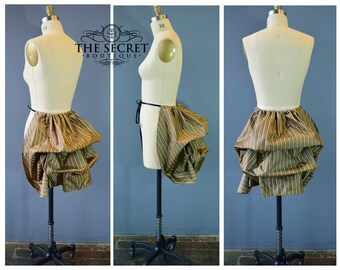 mini bustle-stripe bustle-ready to ship-bustle skirt-gothic-steampunk-victorian-plus size-masquerade-carnival-the secret boutique-copper