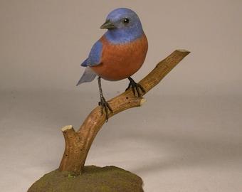 Western Bluebird Hand Carved Wooden Songbird